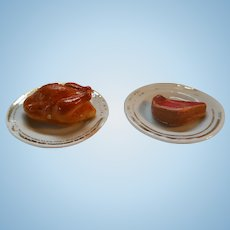 Vintage Dollhouse Food- Lamb Chop and Roast Chicken on China Plates