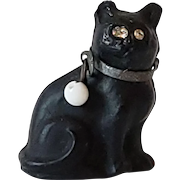 Tiny Vintage Czech Glass Black Cat Charm