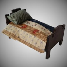 Vintage Dark Wood Dollhouse Bed With Accessories