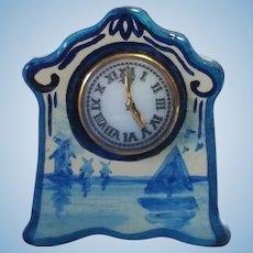 Vintage Artisan PH Dollhouse Miniature Delft Mantle Clock