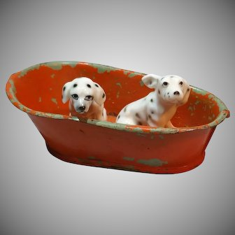 2 Vintage Miniature China Dalmations in an Old Tin Tub