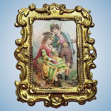 Erhard & Söhne German Ormolu Dollhouse Picture of Colorful Couple