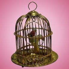 """Erhard & Söhne Ormolu Dollhouse Doll House Bird Cage Birdcage, 2 3/4"""" Tall"""
