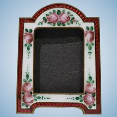 Miniature Red Guilloche Standing Enamel Frame Painted Roses Doll or Dollhouse Accessory