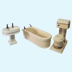German Wood Dollhouse Bathroom Set, Original FAO Schwarz Labels