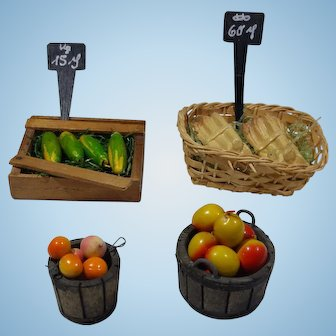Vintage German Farmers Market Crate & Basket, White Asparagus/ Cucumbers AND MORE!