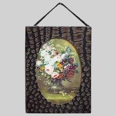 Vintage Dollhouse Miniature Framed Floral Print