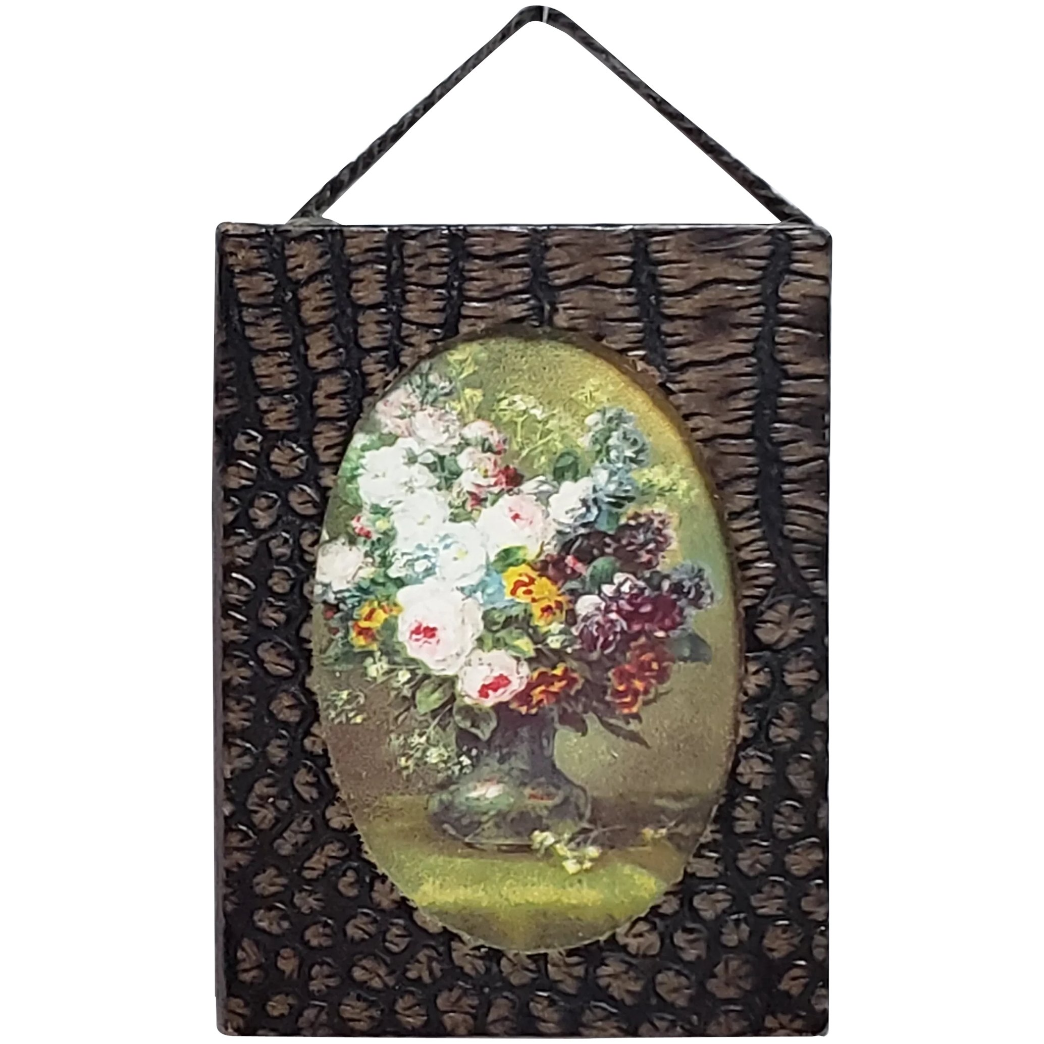Oval Floral Still Life Miniature Dollhouse Picture