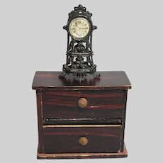 Antique Simon et Rivollet French Filigree Metal Table Clock