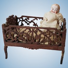 Antique Fretwork Doll Cradle