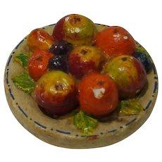 Colorful Vintage Dollhouse Plaster Fruit Plate