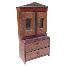 German Dollhouse Cupboard Hutch W/ Original Paint