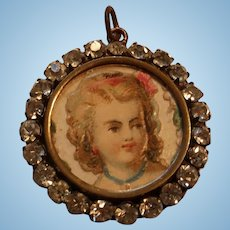 Tiny Picture of a Little Girl in a Rhinestone Paste Locket