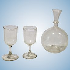 Antique Hand Blown Balloon Decanter With Two Matching Glasses For The Dollhouse