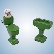 Vintage Dollhouse Green Bathroom Set