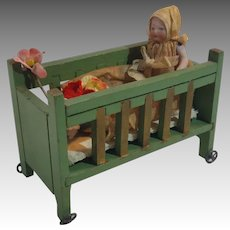 Adorable German Dollhouse Crib With Bisque Baby
