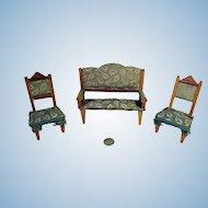 Antique German Dollhouse Upholstered Parlor Suite