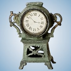 French Antique Cast Metal Dollhouse Clock in Green