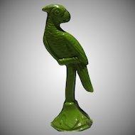 Vintage Green Metal Parrot Dollhouse Decor