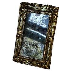 Antique Dollhouse Hammered Brass Rectangular Wall Mirror