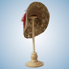 Antique Miniature Hat Stand With Artisan Felt Hat