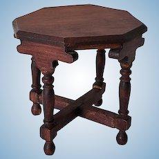 German Dark Stained Wood Hexagonal Dollhouse Table