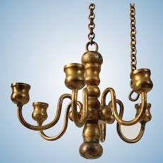 Vintage Heavy Gold Metal Williamsburg Style Chandelier for the Dollhouse