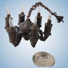 Vintage Gothic Bronze 6 Arm Dollhouse Chandelier