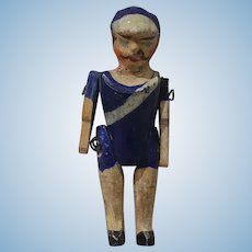"2"" Tiny Jointed Wood Soldier or Sailor Doll"
