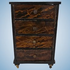 Antique Faux Grain Rosewood 4 Drawer Chest for the Dollhouse