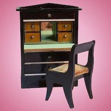 Kestner Biedermeier Drop Leaf Dollhouse Desk