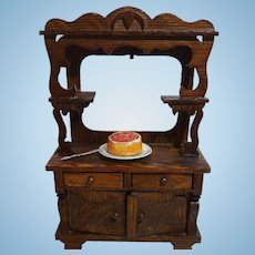 German Dollhouse Mirrored Oak Cupboard With Accessories, Larger Scale