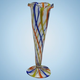 Tall Dollhouse Lauscha Glass Vase, Multi Colored Swirl
