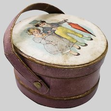 Antique Leather Dollhouse or Fashion Doll Size Hatbox Litho Top Dresden Trim