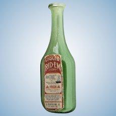 "Vintage Artisan Dollhouse 1"" Green Glass Bottle of Liquid Rid'em"