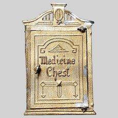 Antique Metal Dollhouse Medicine Chest 1 Original Bottle