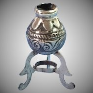 Vintage Dollhouse Miniature Mexican Silver Pot On Stand