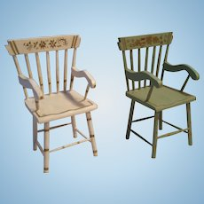 Finely Decorated Dollhouse Nantucket Spindle Back Chairs