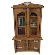 Vintage Oak Dollhouse Bookcase