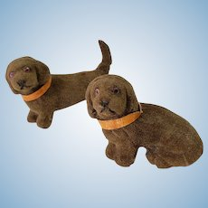 Dollhouse Miniature Pair of Vintage Velveteen Dachshund Dogs Made in Germany