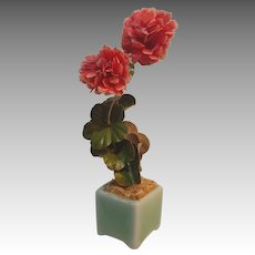 Vintage Salmon Colored Paper Geraniums in Celadon Container