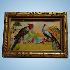 Framed Dollhouse Picture of Parrots