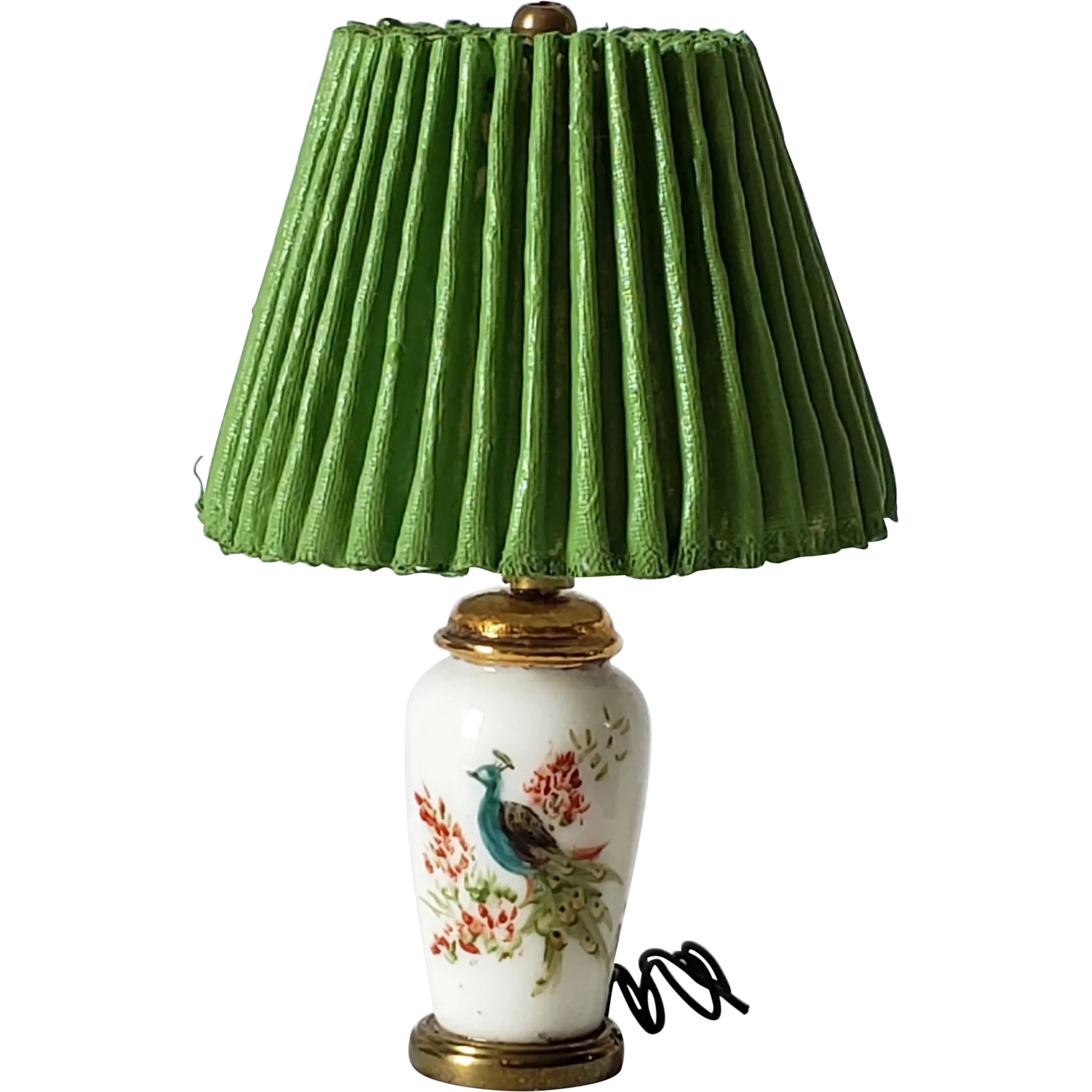 Vintage Dollhouse Hand Painted Porcelain Lamp, Electrified