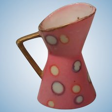 1930s/ 40s Geometric Design Miniature or Dollhouse Pink Pitcher With White Polka Dots