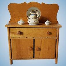 Rare Vintage Turned Painted Wood Treenware Dresser Set