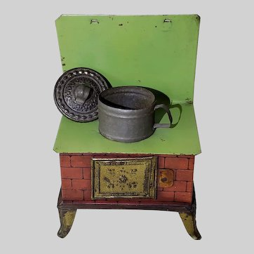 Dollhouse Antique German Tin Stove w/ Embossed Pot