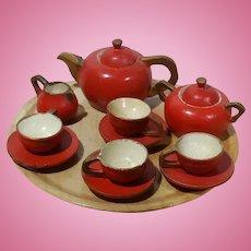 Miniature Dollhouse Red 13 Piece Treenware Tea Set, Germany