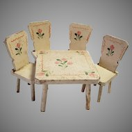 Vintage Shabby Chic Dollhouse Table & Chairs, Rose Motif