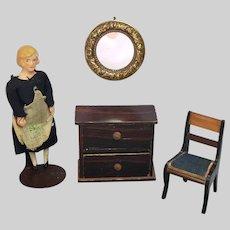 Antique Round Ormolu Dollhouse Mirror