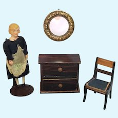 Antique Round Ormolu Dollhouse Mirror